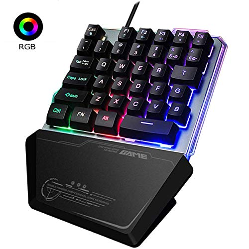 One Handed Keyboard, Jancal RGB Gaming Single-Handed Keyboard with 35 Keys for PS4/Xbox/PC, Portable Mini Left Hand Keypad RGB Backlit/Macro Definition, Wired USB Mobile Game Half Keypad