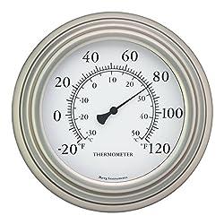 Bjerg Instruments 8 Satin Nickel Finish Decorative Indoor/Outdoor Thermometer
