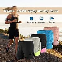 Entweg ウィメンズ2イン1ランニングショーツ速乾性通気性アクティブトレーニングエクササイズジョギングサイクリングショーツ(長めのライナー付き)、メンズショーツ