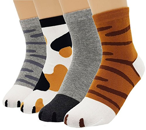 JJMax Women's Cute Kitty Cat Paws Socks with Paw Prints on Toes, Crew 4 Pair Set, One Size,Crew 4 Pair Set,One Size