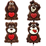 Valentine's Day Puppy Big Chocolate Lollipop Holiday Treats, Milk Chocolate Pop Party Bag Fillers,...