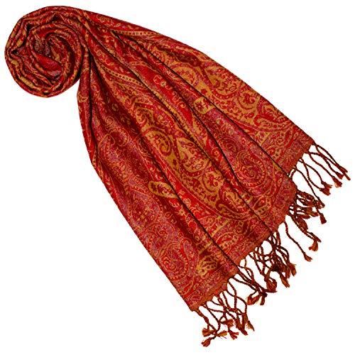 Lorenzo Cana - Damen Schal aus weicher Wolle vom Merinolamm Paisley Muster bunt rot orange mehrfarbig 35 cm x 160 cm Wollschal Wolltuch 7840377