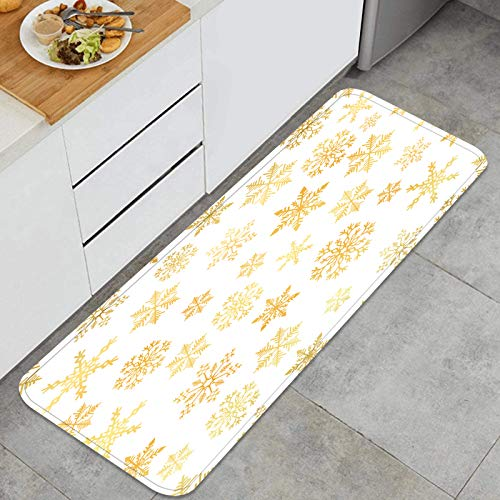 Cocina Antideslizante Alfombras de pie Copo de Nieve Dorado Simple sin Fisuras patrón Abstracto Decoración de Piso Confortables para el hogar, Fregadero, lavandería-120cm x 45cm