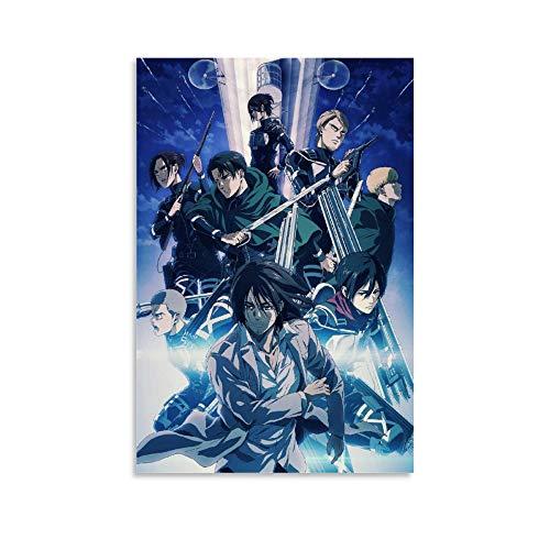 Póster de decoración de oficina, diseño de anime Attack on Titan, temporada 4, 50 x 75 cm