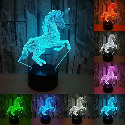 Licorne 3D LED Nuit Lumière 7 Couleur Lampe 3D Hologramme Illusion Lampe de Bureau Pour Enfants Nouveauté bébé lampe Enfants Salon Chambre Table Bureau lumière