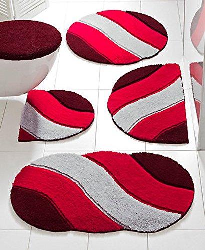 Tappeto da bagno/doccia con colori vivaci (grigio/rosso), Dimensioni: 45 x 50 cm