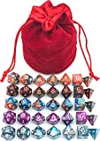 IvyFieldDice 5 Assorted Colors Polyhedral Dice Set for Dungeons and Dragons DND Pathfinder RPG Role Playing Games with Red Drawstring Dice Bag (Total 5 Sets)