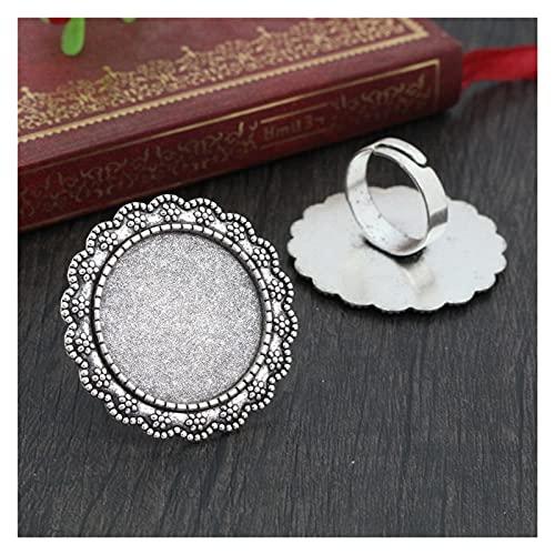base de cabujón 25mm 5pcs / lot cuatro colores plateados de latón ajustes de anillo ajustables en blanco / bases, ajuste 25 mm cabujones de vidrio, botones; bezels anillo ( Color : Antique silver )