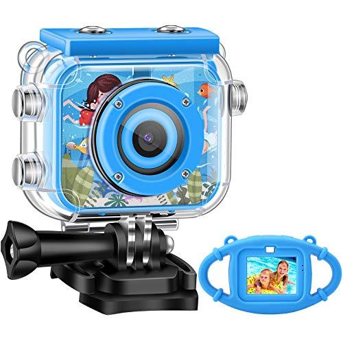 HD Fotocamere Digitali per Bambini,1080P 2.0'Schermo 12MP Macchina Fotografica Subacquea Videocamera Kids per Bambina Impermeabile Action Camera Con Scheda SD 32GB (Blue)