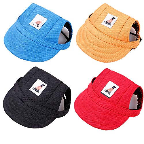 DaFuEn 4 Pieces Baseball Caps -Adjustable Dog Outdoor Sport Sun Protection Dog hat - for Small Medium and Large pet hat - pet Baseball Caps with Ear Holes and Chin Strap (Small)