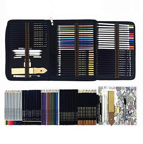 Professionale Matite Colorate Kit per Schizzo e Disegno Artistico,70 Colori Unici per Disegnare e Libri da Colorare Adulti,Regalo Ideale per Artisti, Adulti e Bambini