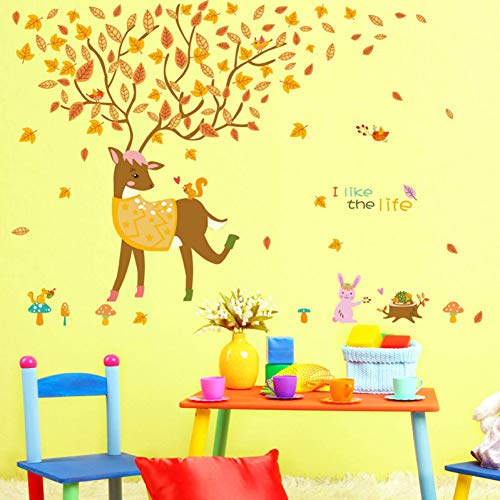 Cartoon Tiere Sika Deer Wandaufkleber Für Kinderzimmer Babybett Home Decor Großer Baum Gelb Ahorn Blatt Aufkleber Stick An Der Wand