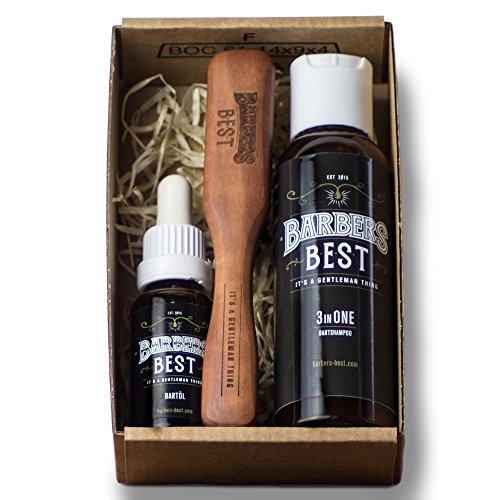 BARBERS BEST GENTLEMAN BOX - Bartpflege Set - Geschenkbox - Bartöl Bartbürste Shampoo - natürliche Inhaltsstoffe
