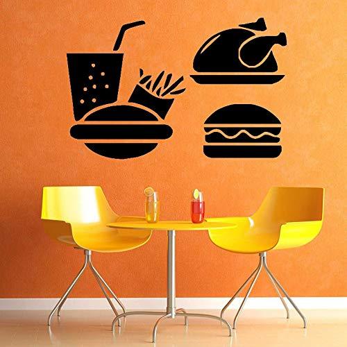 WERWN Adesivi murali Fast Food Hamburger Patatine Fritte Pollo Bevande Porte e finestre Adesivi in Vinile caffetteria Ristorante Cucina Decorazione d'interni