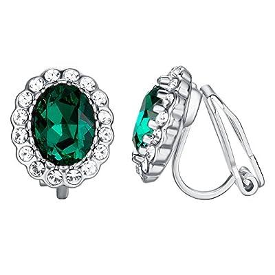 Yoursfs Emerald Green Clip Earrings for Women Oval Shap Clip on Rhinestone Earrings