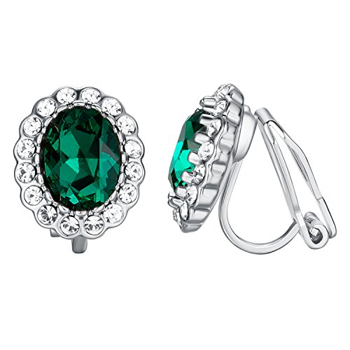 Yoursfs Clip On Earrings Rhinestone Crystal Round 18ct White Gold Plated Earrings for Women