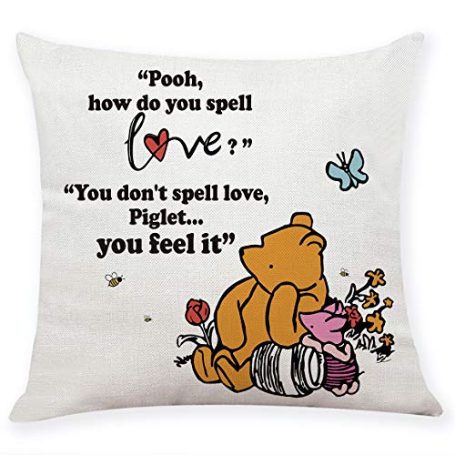 "chillake Classic Winnie The Pooh Quotes Pillow Covers - Pooh Pillow Case Cushion Cover for Sofa Couch Decor - Funny Best Friend Friendship Quote Gift (18""x 18""Inch)"