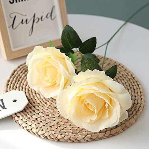 Meitao Kunstbloemen, 2 haren, breed, roze, zijdehuis, bloemen, bruiloft op roze bloem Yellow Champagne