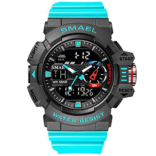 SMAEL Relojes Deportivos para Hombre Resistente Al Agua Digital Militares Relojes Multifuncional Militar Reloj para Hombre,Lake Blue