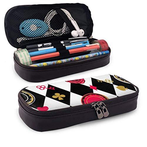 Estuche para lápices - Alice Wonderland Tablero de ajedrez de patrones sin fisuras Estuche para lápices de alta capacidad Organizador de papelería Bolsa de maquillaje de viaje multifunción, Estuche p