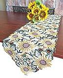 GRANDDECO Tischläufer mit Sonnenblume, Bestickt mit Cutwork Kommode Schal Tischdecke für Sommer Urlaub Party Couchtisch Dekoration Runner 13'x54' Sunflower-1