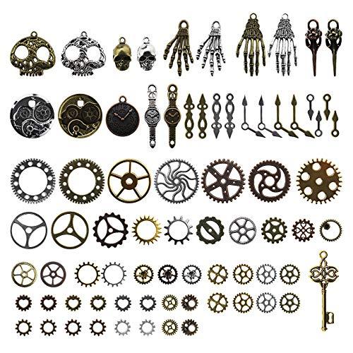80pcs Surtido Vintage Steampunk Engranajes Esqueleto Reloj de Pulsera Colgantes Charms Kit Bronce Plata DIY Accesorios Para Joyería