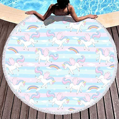 Gamoii Rund Strandtuch Badetuch Rosa Blaue Streifen Regenbogen Einhorn Picknickdecken Strandmatte Mikrofaser Handtücher Saugfähig Strandlaken mit Fransen für Kinder Damen Schwimmen White 150cm