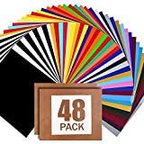 ARHIKY Heat Transfer Vinyl for T-Shirts 12'x10' 48 Sheets Iron On Vinyl HTV Bundle,2 Teflon Sheet,30 Assorted Colors Vinyl