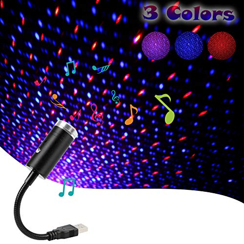 USB Star Light Sound Activated, 3 Colors...