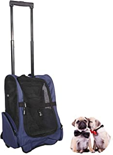 LEMKA Pet Rolling Carrier Backpack Wheel Around 4-in-1 Pet Travel Carrier,Airline Approve Dog Carrier for Indoor & Outdoor Use