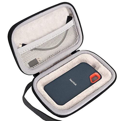 Lacdo Externe Festplattentasche Hard Drive Case für SanDisk Extreme Portable SSD USB 3.1 USB-C 250GB 500GB 1TB 2TB 2.5 Zoll Schutzhülle Eva Stoßfest plus Samt Wasserdicht Tragetasche Handheld, Schwarz