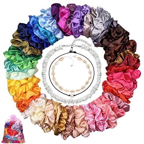 53 Pcs Scrunchies de Satén, Incluye 50 Pcs Coleteros Scrunchies + 2 Pcs Collar de Conchas Surfero +1 Pcs Collar de Perla Mujer, para El Cabello Ponytail Holder Headbands para Mujeres