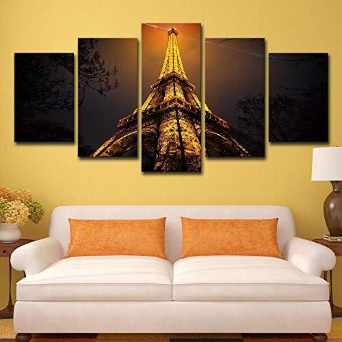 WENXIUF Bilder 5 Teil Wohnzimmer Wandbilder Drucke Auf Leinwand Gelber Licht Paris Turm Leinwandbild Schlafzimmer 150X80Cm Fertig Holzrahmen Fotoleinwand Bereit Zum Aufhängen