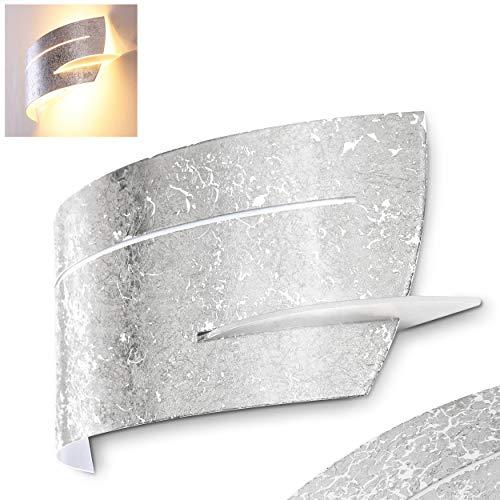 Wandlampe Novara aus Metall/Glas in Silber, moderne Wandleuchte mit Up & Down-Effekt, 1 x E27 max. 40 Watt, Innenwandleuchte mit Lichteffekt, geeignet für LED Leuchtmittel