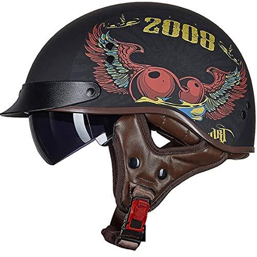 Casco Abierto Protección Para Motocicleta Vintage Casco Moto Jet Con Visera Mujer Y Hombre Para Ciclomotor Scooter Bicicleta Mofa Piloto Crash Cruiser Chopper Racing Cap C,M