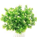 FUJIE 4 Pcs Arbustos Artificiales Plantas Verdes Artificiales de Plástico Ramos Artificiales Interior Exterior Decoración para Boda, Hogar, Oficina y Jardín etc.