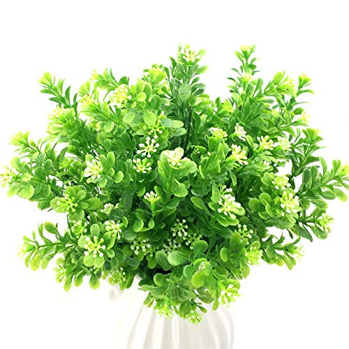 Fujie 4 piante artificiali in plastica verde subtropicale, arbusti realistici, per interni ed esterni, per casa, giardino, ufficio, veranda, decorazione nuziale
