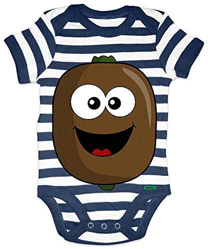 Hariz - Body para bebé, diseño de rayas y frutas, multicolor azul Blanco/azul marino. Talla:0-3 meses