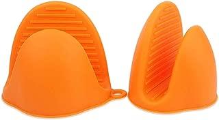 KADYA Mini Oven Mitts 1 Pair (2pcs), Heat Resistant Pinch Mitt Gloves for Kitchen Cooking & Baking - Food-Grade Silicone (Orange)