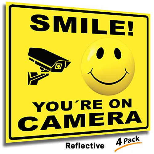 Smile You're On Camera Signs Stickers – 4 Pack Reflective Silver 7x6 Inch – Premium Self-Adhesive Vinyl, Decal, Laminated for Ultimate UV, Weather, Scratch, Water and Fade Resistance, Indoor & Outdoor