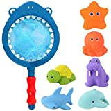 HWD Bath Toy , Fishing Floating Animals Squirts Toys Games Playing Set with Fishing net , Fish Net Game in Bathtub Bathroom Pool for Babies Toddlers and Kids (Dark Blue)
