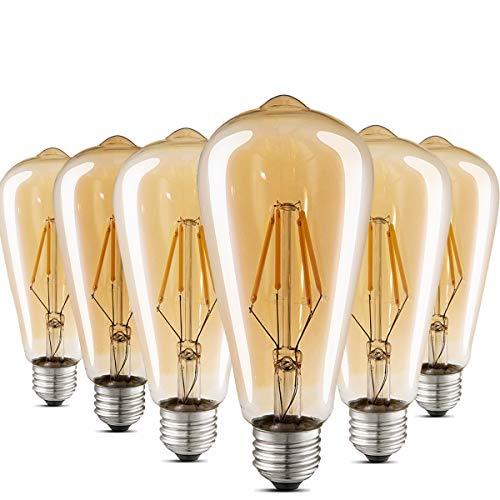 Lampadina LED Edison Ambra calda 2700K Lampadine a filamento stile vintage antico 40W Equivalente E27 Base confezione da 6 da Kooywan