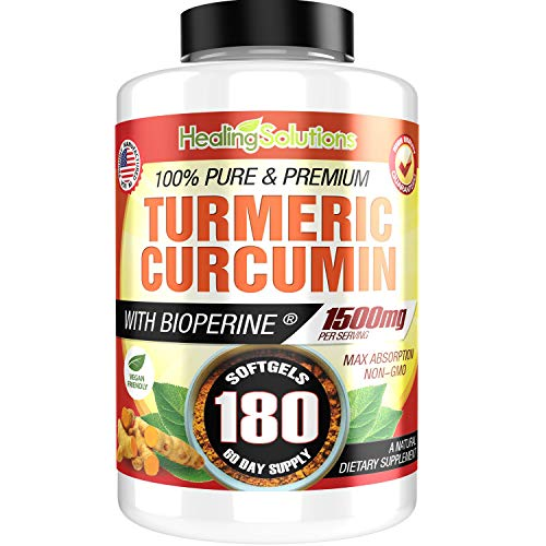 Turmeric Curcumin with Bioperine 1500mg (180 Capsules) Maximum Potency Pain Relief & Joint Support Supplement 95% Standardized Curcuminoids. Non-GMO Tumeric Gluten Free Turmeric with Black Pepper