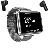 2 in 1 Smart Watch with TWS Wireless Bluetooth Headset, Smart Bracelet with 1.4' Touch Screen, Smartwatch Heart Rate Blood Pressure Fitness Tracker Earbuds Combo Running Music Wristband (Silver)