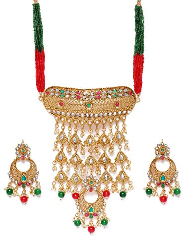 Zaveri Pearls Green Red Stones & Beads Traditional Choker Necklace & Earring Set For Women-ZPFK9976