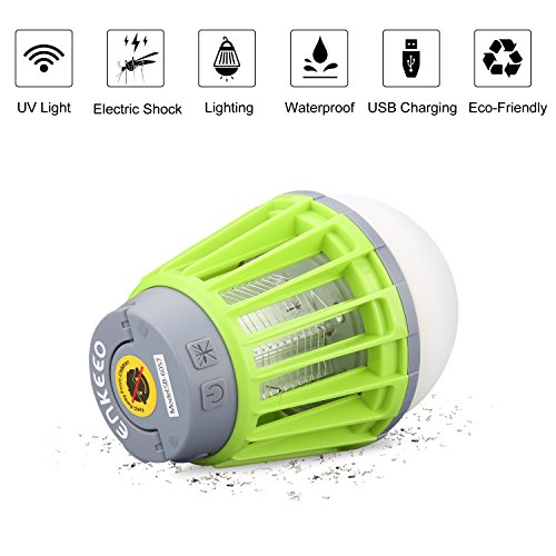 ENKEEO 2-in-1 Camping Lantern Bug Zapper Tent Light - Portable IPX6 Waterproof LED Lantern with 2000mAh Rechargeable Battery, Retractable Hook, Removable Lampshade (Green)