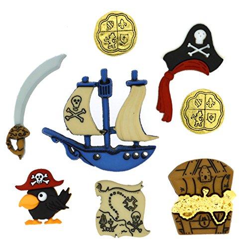 Robe It Up Bouton Pirates, en Plastique, Multicolore, 10 x 10–40 x 40 x 35 mm, Lot de 8