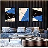 Geometría abstracta Triángulos Azul Rosa Negro Lienzo Pinturas Mágico Arte de la pared Fotos Carteles e impresiones Sala de estar 20x30cm / 7.8'x 11.8' Con marco
