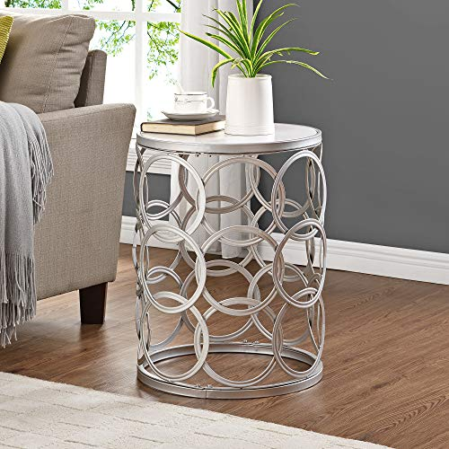 FirsTime & Co. Silver Interlocking Circles Marblized Table, American Designed, Silver, 16.75 x 16.75 x 22 inches