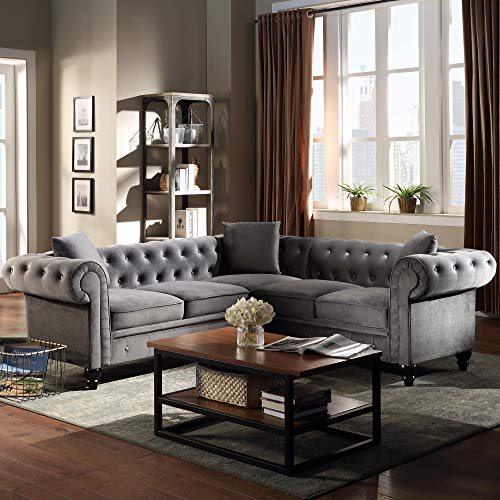 P PURLOVE Velvet L-Shape Sofa 5 Seater Tufted Velvet Sectional Sofa,Classic Chesterfield Sectional Sofa with Upholstered Rolled Arm for Living Room,3 Pillows Included